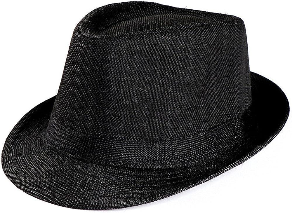 iDWZA Unisex Trilby Gangster Cap Beach Sun Straw Hat Band Sunhat