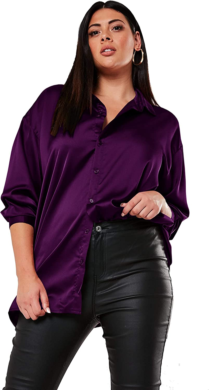 Women Satin Button Down Shirt Plus Size Long Sleeve Solid Collar Blouse Top