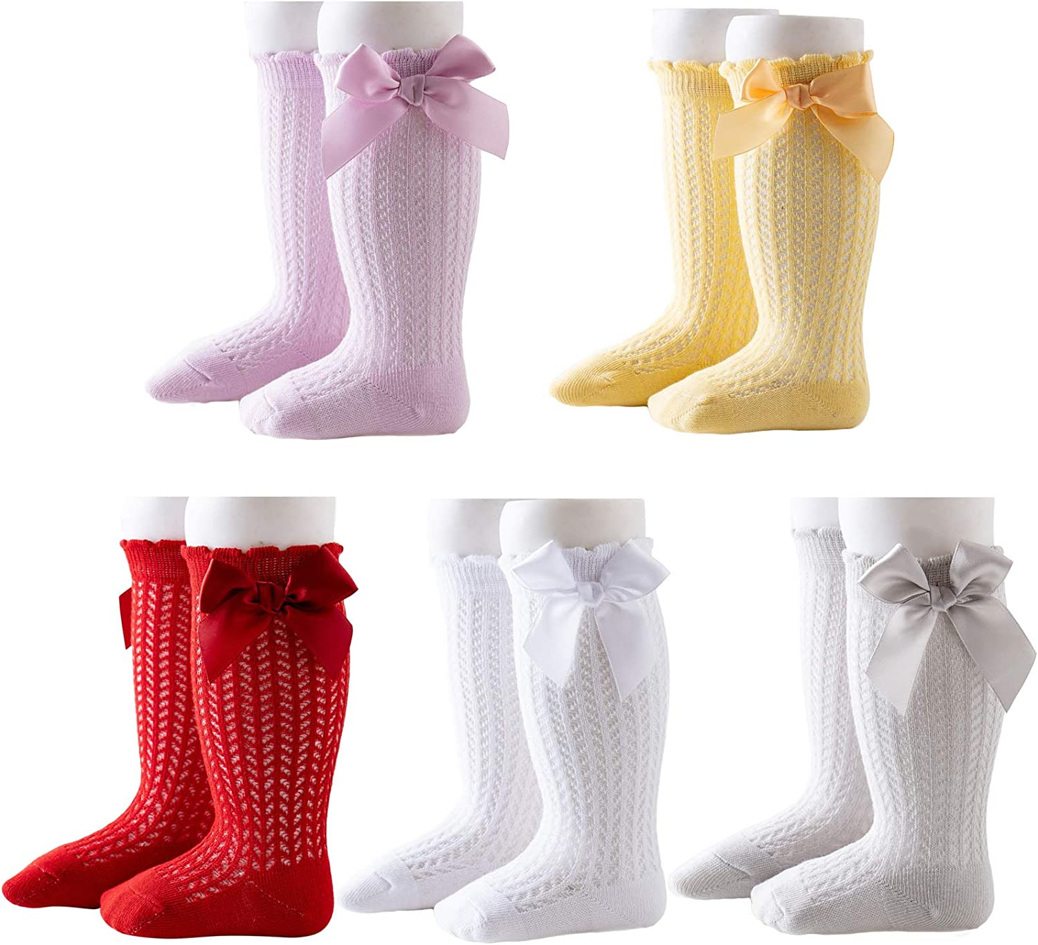 5 Pairs Baby Girls Knee High Socks Cotton Hollow Out Anti-skid Knitting Stockings Suitable for 0-3 Years Infants Toddlers