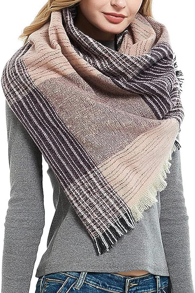 Hutop Fall Winter Stylish Plaid Scarf for Women Soft Warm Cozy Fluffy Lightweight Blanket Scarves Warps Shawls Gift Ideas