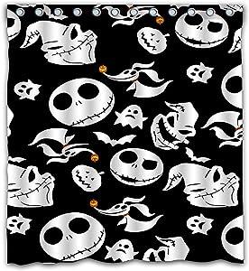 YBin Custom Classic Black and White Horror Halloween Waterproof Shower Curtain Colorful Bathroom Decor Size 66x72 Inches