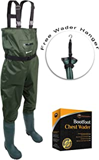 Chest Fishing Waders for Men & Women with Boots- Hunting Nylon PVC Boothfoot Waders - Includes Bonus Wader Hanger & Wading Belt - Leak-Proof & Waterproof Guaranteed