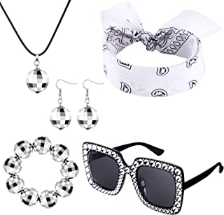 5 Pieces 1970s Accessories Disco Ball Earrings Necklace Bracelet Black Sunglasses and Headband for Women