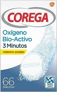 Corega Oxígeno Bioactivo 3 Minutos - Tabletas limpiadoras para prótesis dentales - 66 tabletas