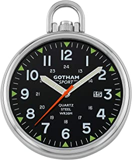 Gotham Men's Sport Series Stainless Steel Analog Quartz Date Pocket Watch # GWC14109SB