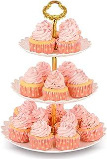 NWK سه پایه گردویی کیک کوچک گرد (حاوی تا 20 کیک کوچک) برج دسکتاپ پلاستیکی