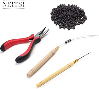 Neitsi Hair Extension Remove Pliers + Pulling Hook + Bead Device Tool Kits + 500pcs 5mm Micro Rings (Dark Brown# Beads)