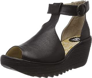 FLY London Womens YOLA Mousse Peep Toe Leather Platform Wedge Sandals