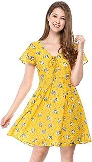 allegra K 女式花卉系带 V 领荷叶边袖子雪纺 A 字型连衣裙