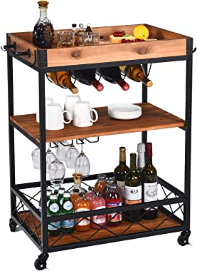 Bar Cart for Home Mobile Wine Cart on Wheels with Metal Frame Wine Rack Removable Box Container Handle Rack and Glass Holder,