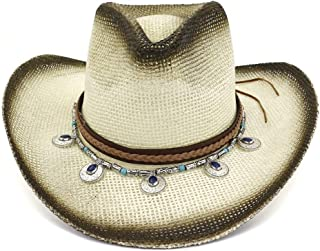 JAUROUXIYUJI New Western Cowboy Hat Spray Paint National Wind Straw Hat Women Men Outdoor Seaside Sun Hat Protection Sun Hat Pendant Beach Hat (Color : 1, Size : 56-58CM)