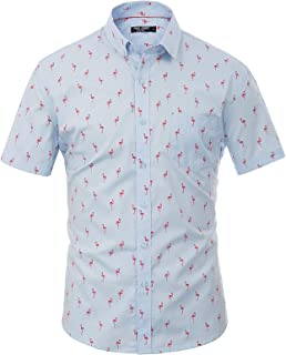 Men's Short Sleeve Flamingos Casual Button Down Hawaiian Shirt