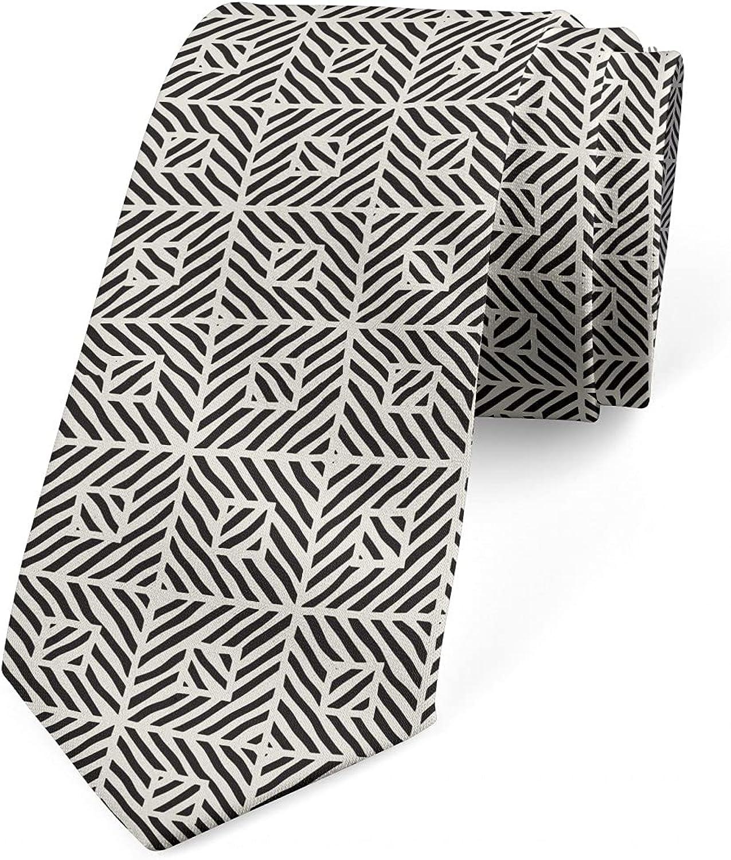 Ambesonne Necktie, Zebra Pattern and Squares, 3.7