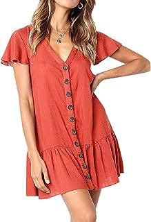 Womens V Neck Button Down Shirt Dresses Long Sleeve Ruffles Midi Skater Dress with Pockets
