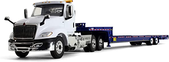 First Gear 1/34 Scale Diecast Collectible White/Blue International LT with Ledwell Hydratail Trailer (10-4156)