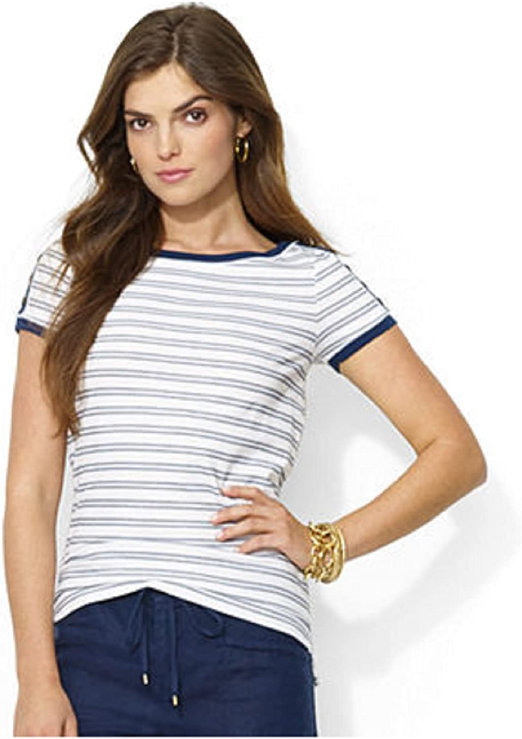Lauren Jeans Co. ButtonShoulder Striped Tee W Size L