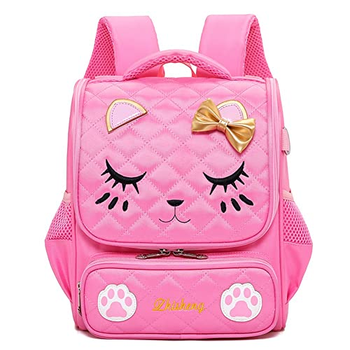 Moonmo Cute Cat Face Pink Kitty Waterproof School Backpack Girls Book Bag