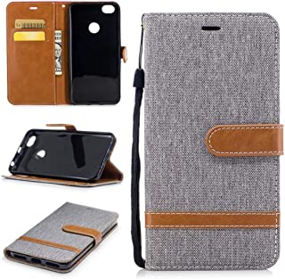 YUELIJIN Flip Case for Xiaomi Redmi Note 5A Luxury PU Leather Wallet Case Cover Credit Card Slot BookStyle Magnetic Clasp Closure Full Protective Kickstand Feature Matched Color Cowboy Jeans Gray
