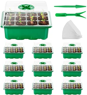 AQUEENLY Seed Starter Tray 10Pack Seed Trays with Humidity Adjustment Domes and Base Growing Trays, Germination Tray Kit w...