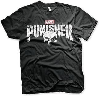 Oficialmente Licenciado Marvel'S The Punisher Distressed Logo Camiseta para Hombre (Negro)