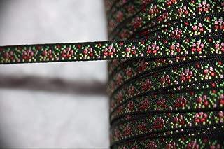 1 Yard Black Bubblegum Pink Ombre Jacquard Satin Woven Assorted Pattern Ribbon Lace Trim 1/4