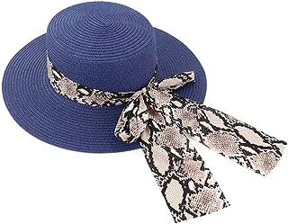 Decoration Bow Tie Hat New Women Outdoor Beach Straw Sun Hat Beach Sunshade Beach Panama Jazz Hat (Color : Navy Blue, Size : 56-58CM)