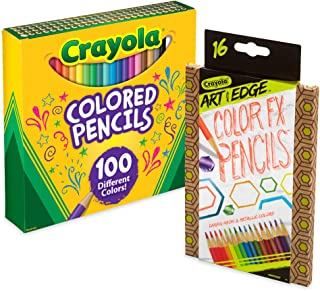 Crayola 100Count Colored Pencil Collection with 16Count Color Fx Metallic & Neon, Amazon Exclusive, Gift
