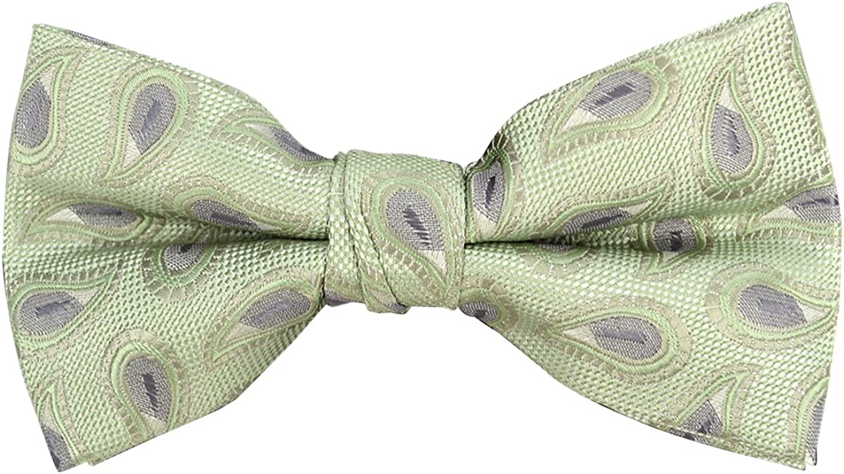 Men's Poly Woven Paisley Pattern Banded Bow Tie