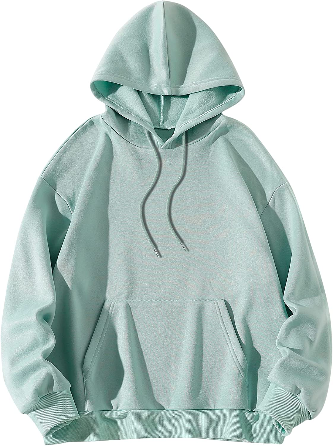 MakeMeChic Women's Solid Long Sleeve Sweatshirt Hoodie Tops with Pocket Casual Drawstring Pullover