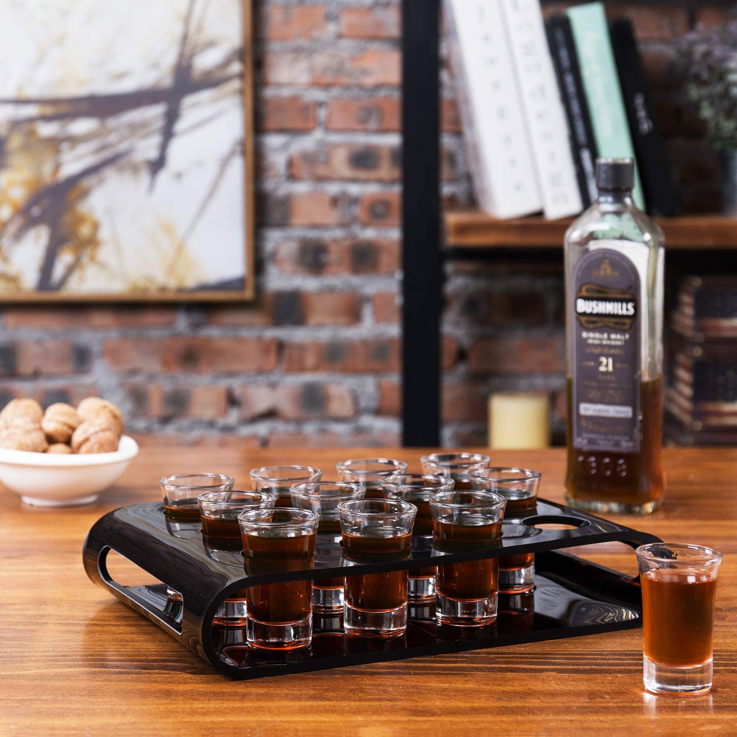 MyGift 12 Shot Glass Flight Set Acrylic Mail order cheap Indefinitely with Black Party Serving