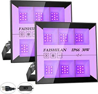 FAISHILAN 2 Pack 30W UV Led Black Light, IP66 Waterproof Ultraviolet Outdoor Flood Light with Plug for Blacklight Dance Party, Stage Lighting, Glow in The Dark, Aquarium, Body Paint, Fluorescent Poste