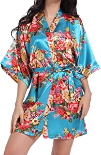 Women's Robes Kimono Satin Floral Robes for Bride Bridesmaid Wedding Party Gift Silk Robes Nursing Gown