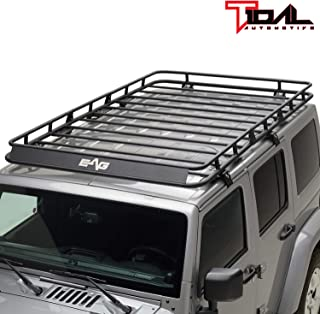 Tidal 4 Door Cargo Rack Rooftop with Wind Fairing Fit for 2007-2018 Jeep Wrangler JK