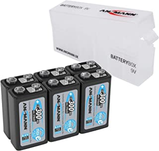 ANSMANN Rechargeable 9V Battery 300mAh pre-Charged Low Self Discharge 9Volt NiMH Rechargeable Battery (6-Pack) + Batterybox for 9V