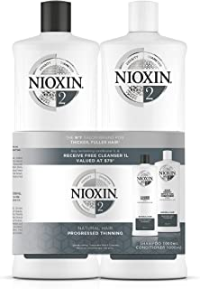 NIOXIN System 2 Duo Pack, Cleanser Shampoo + Scalp Therapy Revitalising Conditioner (1L + 1L), For Natural Hair with Progr...