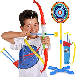 Toy Bow and Arrow for Kids - Practice Toy Archery Set - Target Stand, Quiver, Bow and 3 Arrows - Safe and Durable - Fun fo...