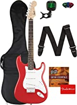Fender Squier Bullet Stratocaster Hard Tail Guitar - Laurel Fingerboard, Fiesta Red Bundle with Gig Bag, Tuner, Strap, Pic...