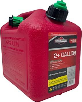Briggs & Stratton 84023 Two Gallon Gas Can, EPA Approved, Smart Fill Spout, and Fire Mitigation (FMD) Compliant, Red, 2 gallon: image