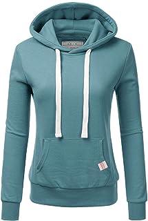 CLOVERY Women's Basic Lightweight Pullover Hoodie Sweatshirt with Plus Size