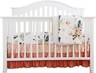 Boho Coral Feather Floral Ruffle Baby Minky Blanket Peach Floral Nursery Crib Skirt Set Baby Girl Crib Bedding Feather Blanket (Feather Floral 3pc Set)
