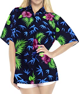 Womens Hawaiian Blouse Shirt Dress Shirts Short Sleeve Shirts Printed A