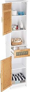 Relaxdays, Blanco y marrón, 180 x 39 x 30 cm Armario de baño, Dos Puertas, un cajón, Alto, Madera y bambú, MDF