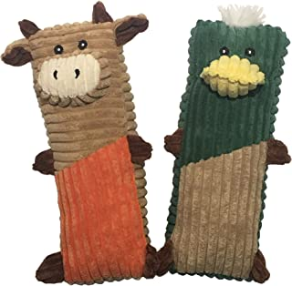 Rosy's Choice Plush Squeaky Cow Duck 2 Pack Medium Large to Extra-Large Dog Toy Set