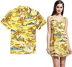 Couple Matching Hawaiian Luau Outfit Aloha Shirt Tunic Slip On Dress in Sunset Yellow