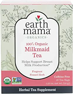 Organic Milkmaid Tea by Earth Mama | Supports Healthy Breastmilk Production and Lactation, Herbal Breastfeeding Tea Supple...