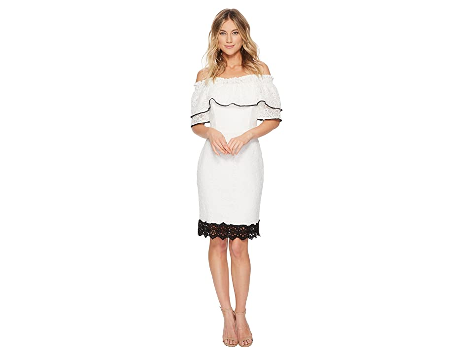 Adelyn Rae Hilda Off Shoulder Dress (White/Black) Women