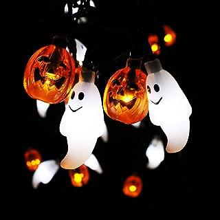 JOYIN Halloween String Light Decoration Battery Powered Ghost and Pumpkin Shaped LED String Light - 19.7 Feet Long, 30 LED, Warm/Cool (Orange/White) Color