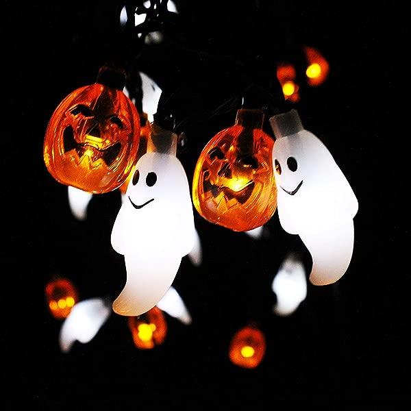 JOYIN 万圣节串灯装饰电池供电的幽灵和南瓜形 LED 串灯 19 7 英尺长 30 LED 温暖凉爽橙色白色