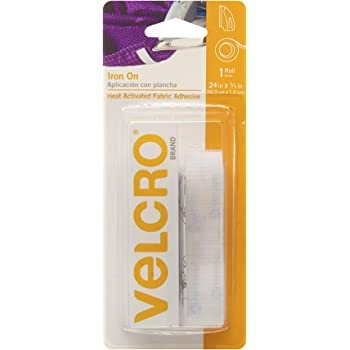 VELCRO Brand for Fabrics | Iron On Tape for Alterations and Hemming | No Sewing or Gluing | Heat Activated for Thicker Fabrics | Cut-to-Length Roll, 24 in x 3/4 in, White