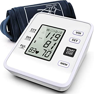 Blood Pressure Monitor Upper Arm Accurate Automatic BP Machine Dual Mode+99 Set Memory with Voice Broadcast Large LCD Screen Adjustable Cuff Suitable for Home Use